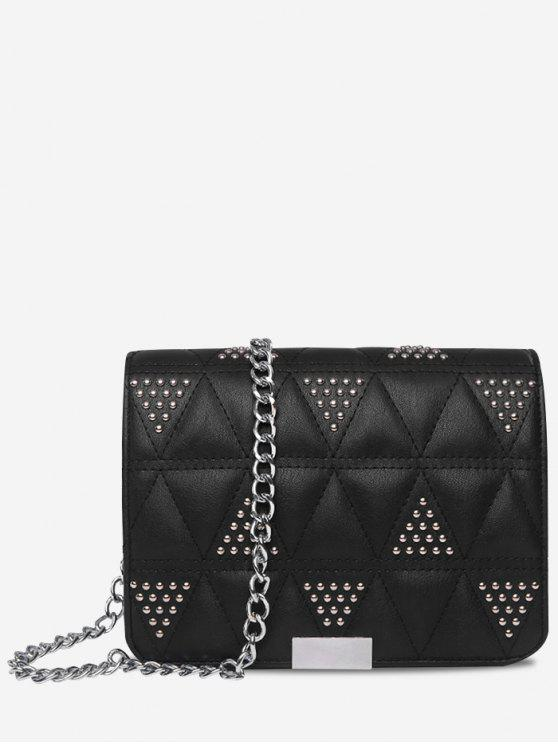 Unique Quilted Studded Crossbody Bag Black