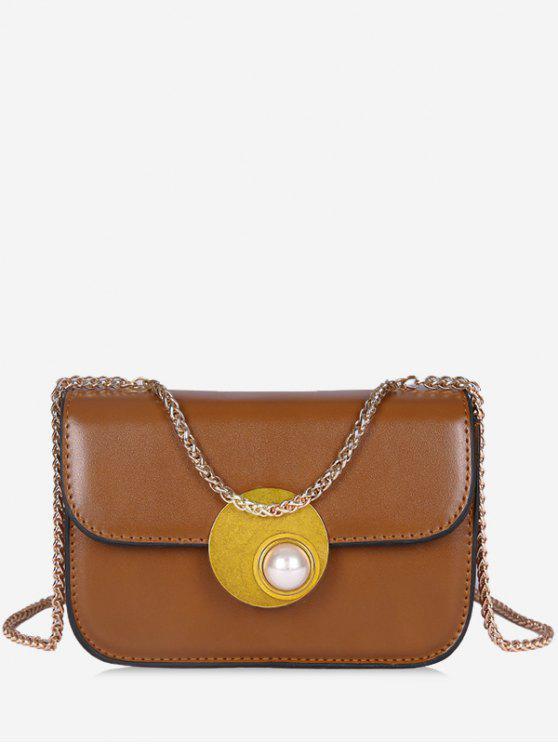 affordable Flap Faux Pearl Crossbody Bag - BROWN