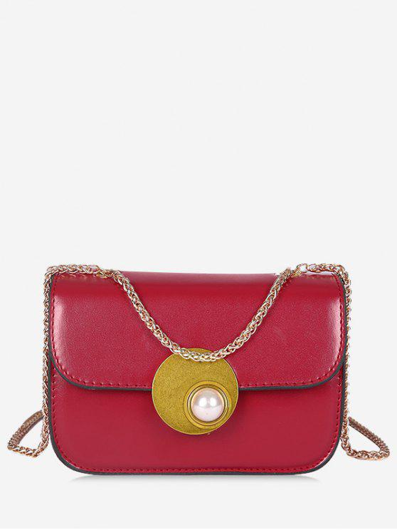 buy Flap Faux Pearl Crossbody Bag - RED