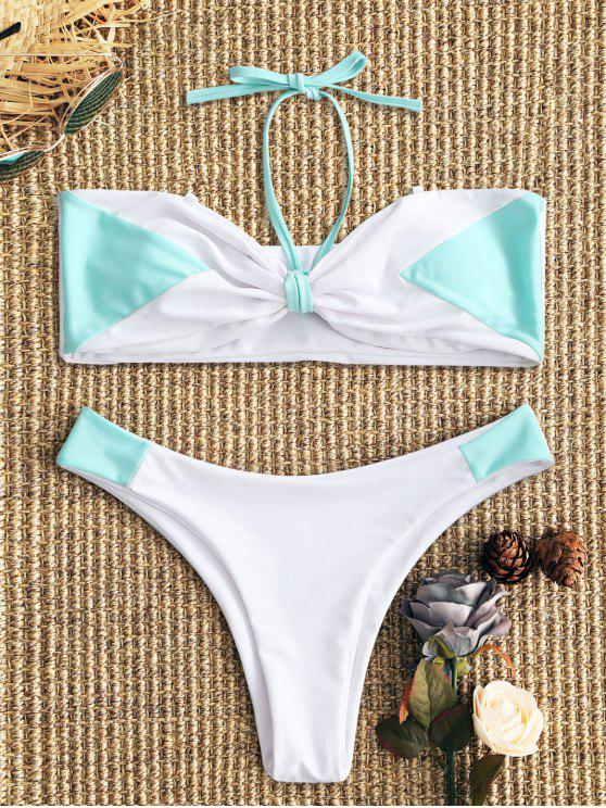 new Two Tone Bandeau Bikini Set - WHITE AND GREEN M