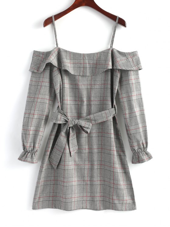 hot Plaid Ruffle Cold Shoulder Mini Dress - GRAY M