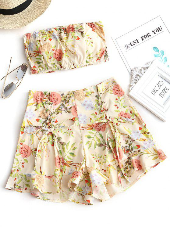 fancy Smocked Floral Bandeau Top and Shorts Set - FLORAL L