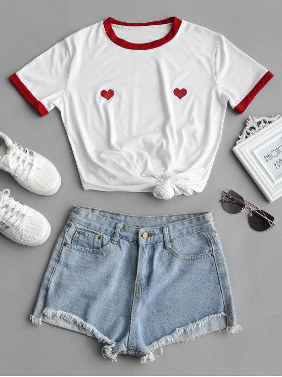 affordable Heart Print Longline Tee - WHITE L