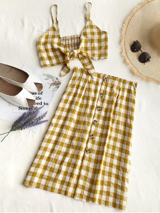 womens Checked Crop Cami Top and Skirt Set - GINGER M