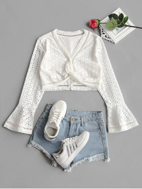 outfit Flare Sleeve Openwork Crop Twisted Top - WHITE S