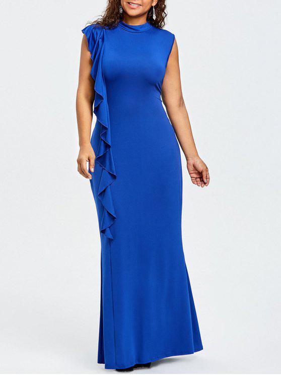 زائد حجم الكشكشة عالية الرقبة فستان ماكسي - أزرق 3XL