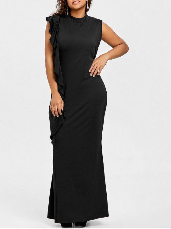 زائد حجم الكشكشة عالية الرقبة فستان ماكسي - أسود 4XL