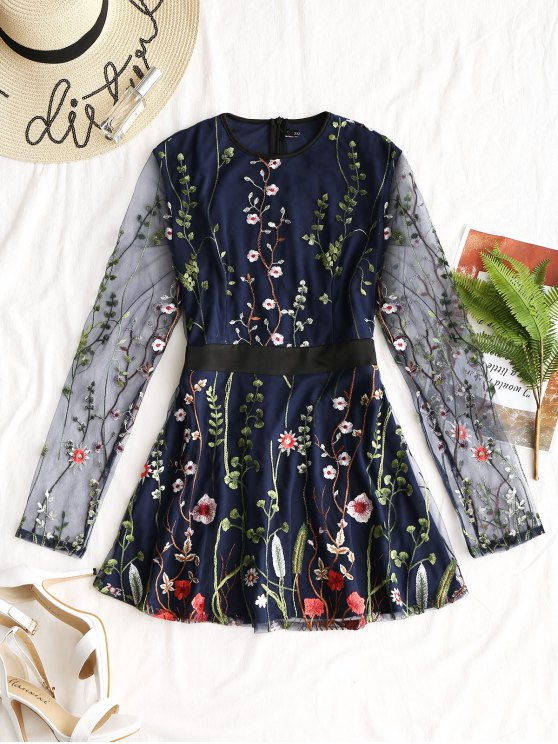 unique Gauze Embroidered Long Sleeve Dress - PURPLISH BLUE XL