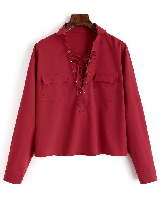 trendy Plain Lace Up Long Sleeve Shirt - RED L