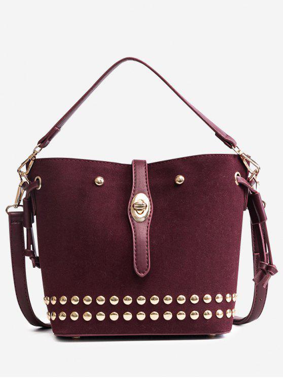 Mehrzweck Studded Handtasche - Weinrot