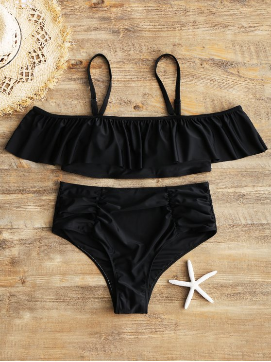 online Overlay Top and Ruched High Waisted Swim Bottoms - BLACK 3XL