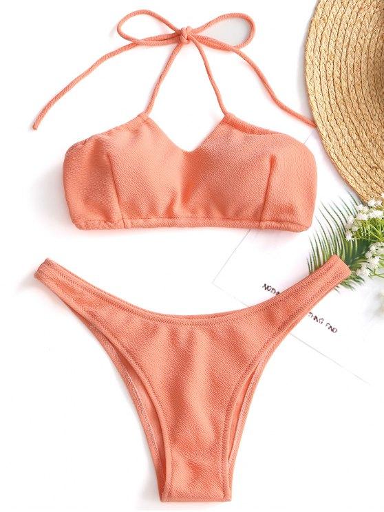 f7010f8c009c5 2019 Halter Textured High Cut Bikini Set In ORANGEPINK L   ZAFUL