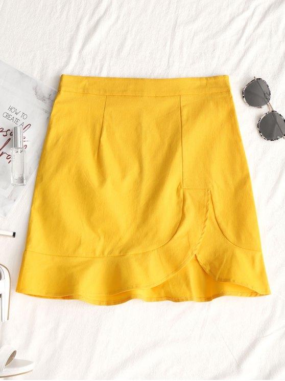 تنورة مصغرة غير متماثلة كشكش - الأصفر L
