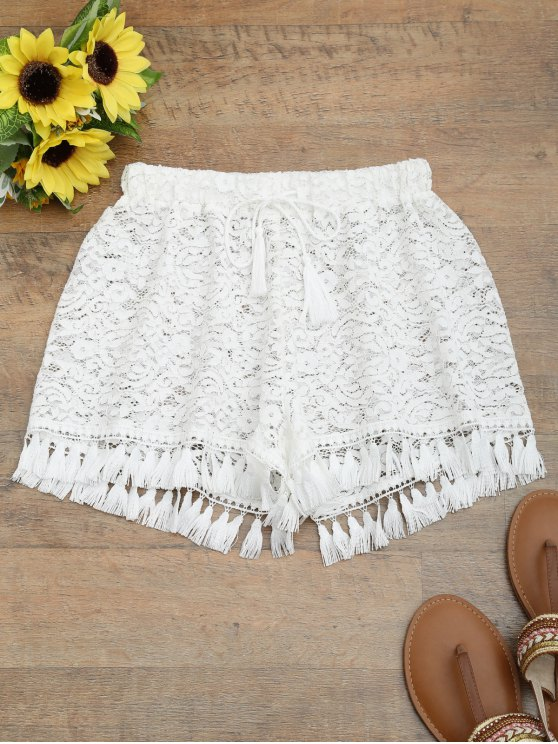 Short à bretelles en dentelle avec cordon de serrage et pompons - Blanc S
