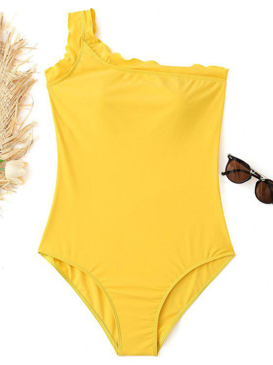 One Shoulder Lettuce Plus Size Swimsuit   Yellow Xl by Zaful