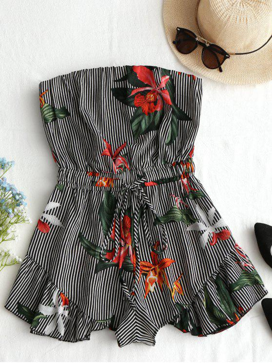 fashion Striped Floral Ruffles Strapless Romper - BLACK XL