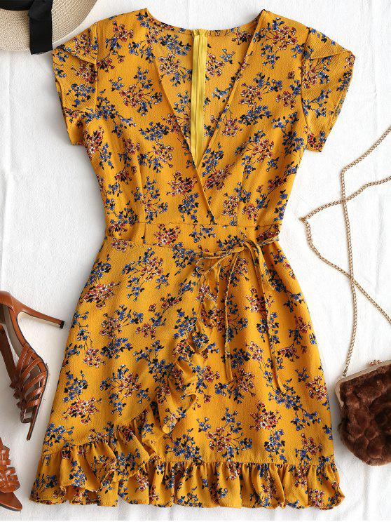 online Plunging Neck Ruffles Floral Print Dress - EARTHY L