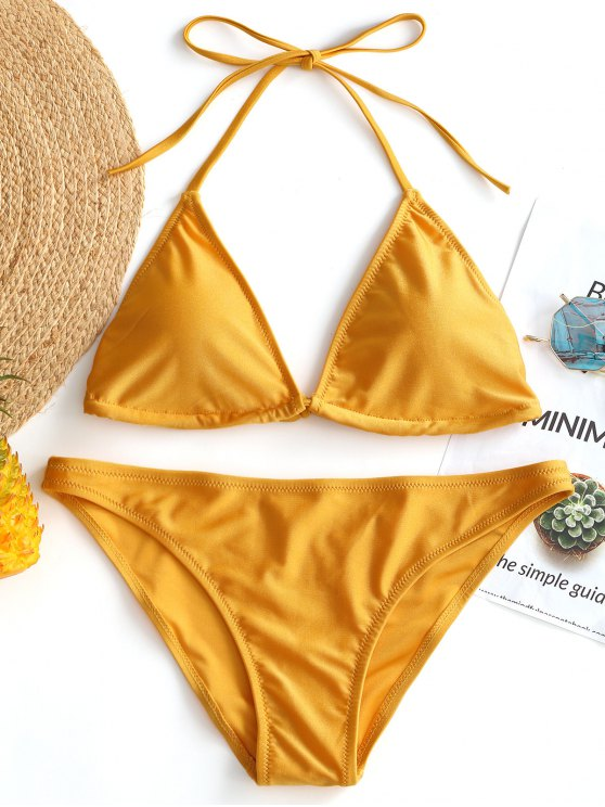 new Shiny Halter Bikini Set - YELLOW S