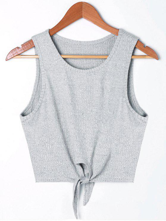 sale Cropped Tie Front Rip Tank Top - GRAY XL