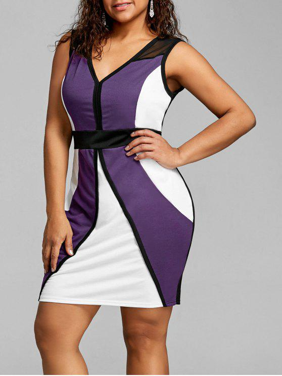 فستان الحجم الكبير شبكي - أرجواني 5XL