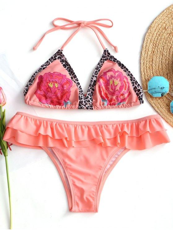 Bikini Stampato Con Allacciatura Posteriore E Volant - Arancione Rosa S