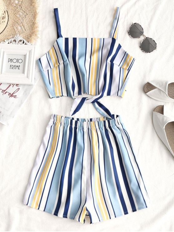 Tied Stripes Top und hoch taillierte Shorts Set - Streifen  XL