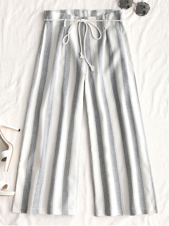 Pantalon Ceinturé Rayé à Jambes Larges - Blanc L