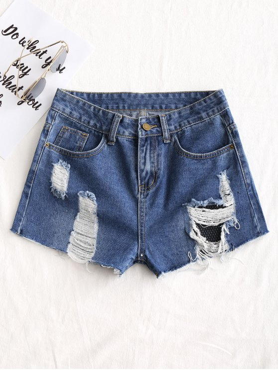 buy Frayed Destroyed Jean Shorts - DENIM BLUE 2XL
