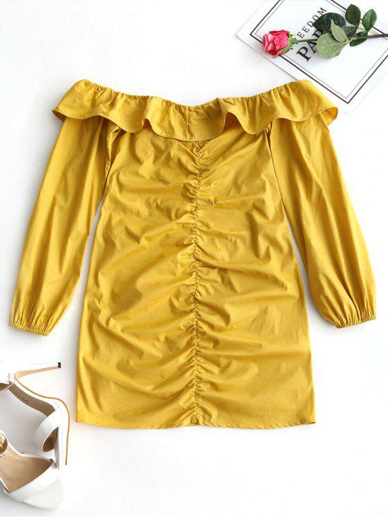 Mini Robe Froncée à Volant à Épaules Dénudées - Moutarde S