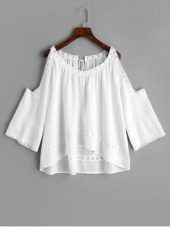 ladies Crochet Panel Cold Shoulder Blouse - WHITE L