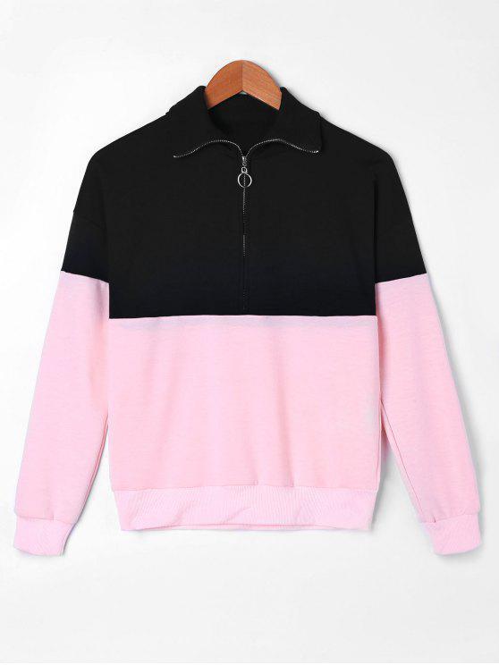 Sweat-shirt à Demi-Zip à Deux Tons - Multicolore 2XL