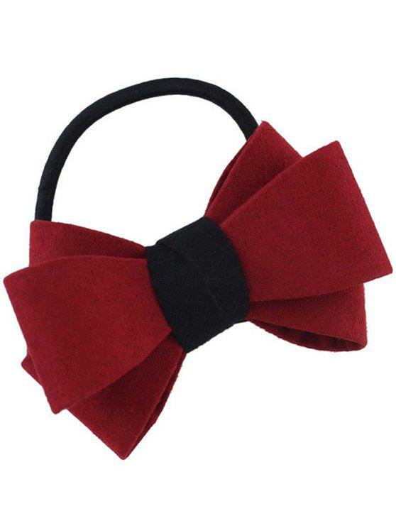 shop Bowknot Ornament Elastic Hair Band - RED