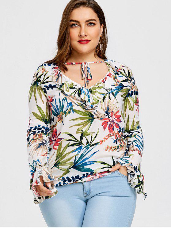 shops Tropical Print Ruffle Plus Size Blouse - WHITE 3XL