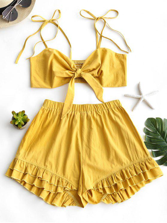latest Smocked Cami Top and Ruffled Shorts Set - MUSTARD S