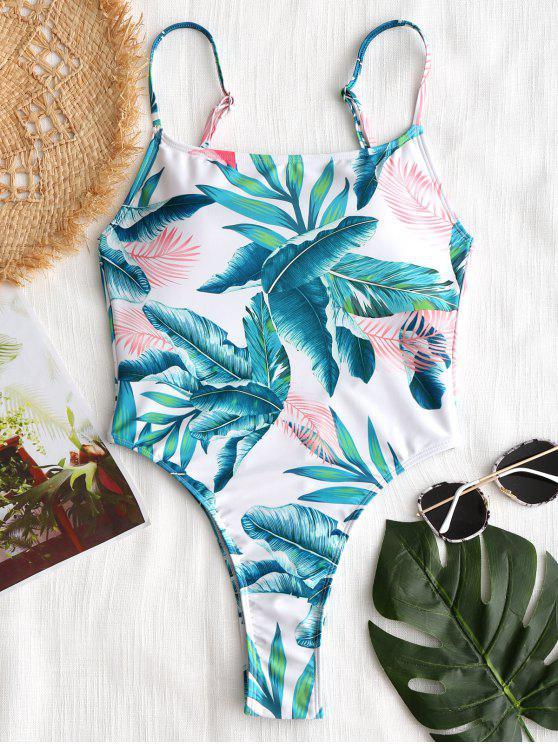 Swimsuit de corte alto de folha tropical - Branco S