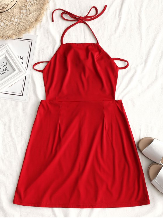 fancy Back Zipper Open Back Mini Dress - RED M