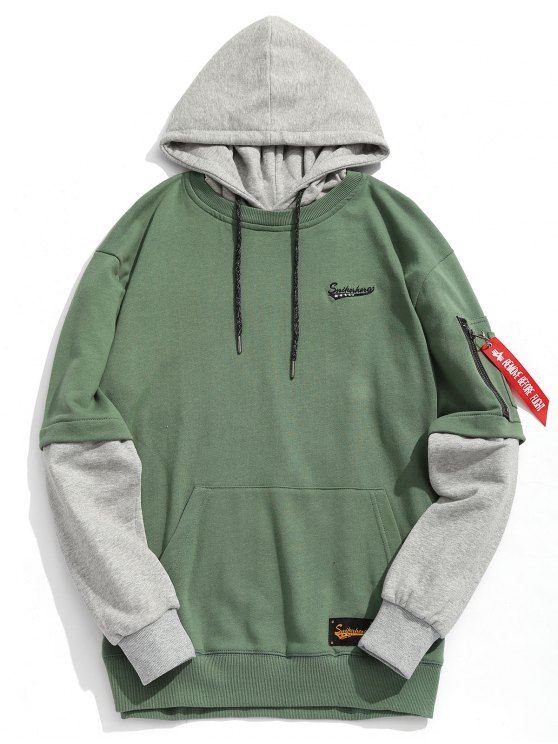 lady Pouch Pocket Pullover Hoodie Men Clothes - GREEN 2XL