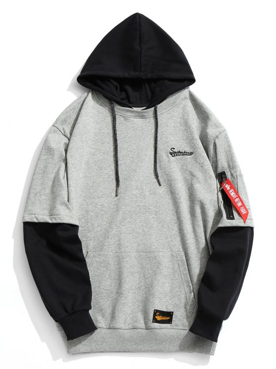 fashion Pouch Pocket Pullover Hoodie Men Clothes - GRAY M