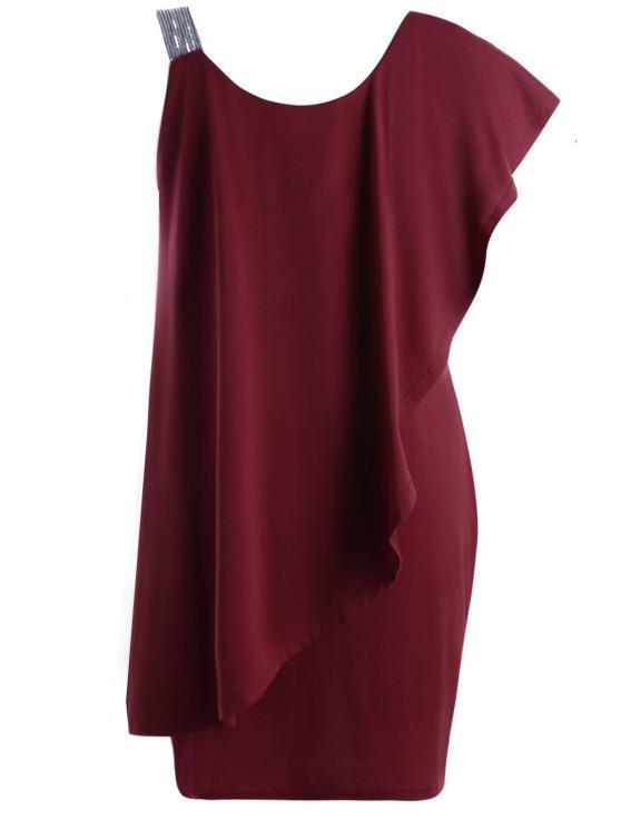 فستان الحجم الكبير كشكش بكتف واحد - نبيذ أحمر 3XL