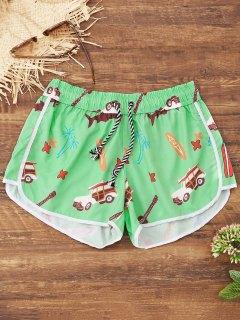 Cartoon Print Beach Shorts - Green M