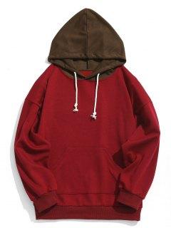 Kontrast Kapuzen Herren Hoodie Herren Kleidung - Rot S