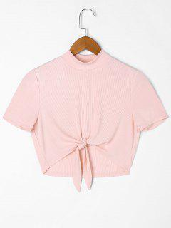 Ribbed Knot Front T-shirt - Pink M