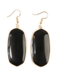Artificial Gem Stone Dangle Drop Earrings - Black