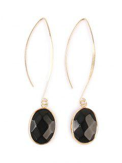 Faux Gemstone Fishhook Drop Earrings - Black