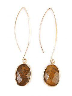 Faux Gemstone Fishhook Drop Earrings - Brown