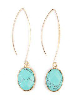 Faux Gemstone Fishhook Drop Earrings - Light Blue
