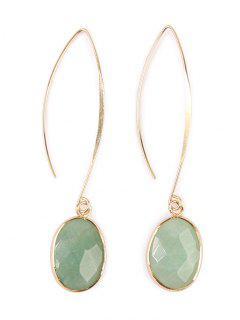 Faux Gemstone Fishhook Drop Earrings - Light Green