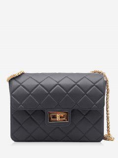 Twist Lock Quilted Chain Crossbody Bag - Black