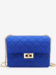 Twist Lock Quilted Chain Crossbody Bag - Blue