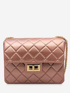 Twist Lock Quilted Chain Crossbody Bag - Rose Gold